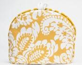 Tea Cozy / Cosy -Lemon Yellow with White Flourish