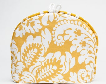 Tea Cozy / Cosy -Lemon Yellow with White Flourish