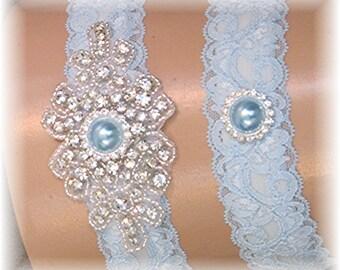 Blue Lace Wedding Garter Set - Vintage Style Bridal Garter Set - Something Blue Crystal and Pearl Keepsake and Toss Garter Set