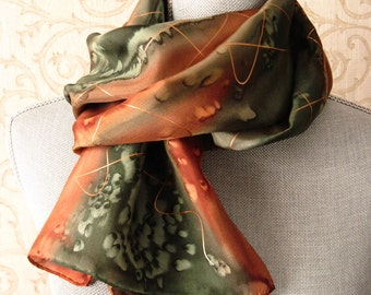 Silk Scarf Handpainted in Olive and Copper Brown with Gold