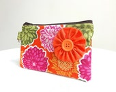 Orange, Hot Pink & Olive Green Flower Zippered Bag / Coin Purse / ID Case / Gadget Pouch with Split Ring - Ready to Ship