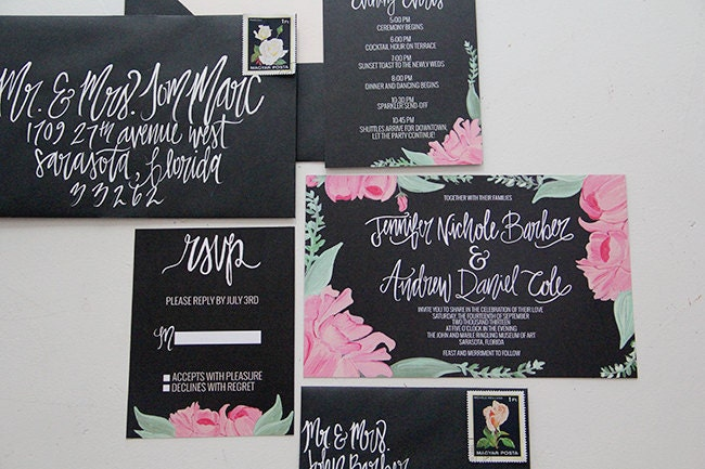 Hand Painted Calligraphy Pink Peony Wedding Invitations