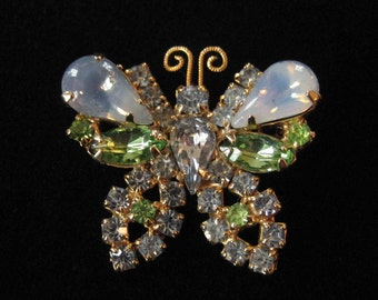 Adorable Light Blue and Spring Green Rhinestone Butterfly Brooch
