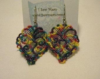 Variegated Lace Heart Earrings - Custom Color