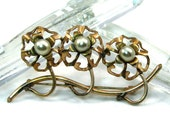 Triple Flower Brass and Pearl Broach Vintage Mid Century 1950s Brooch Pin