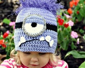 Bad Purple Minion Crochet Hat Despicable Me 2 movie, Newborn, 3-6 m, 6-12m, 1-2T, 2t and up, and Adult, Halloween costume