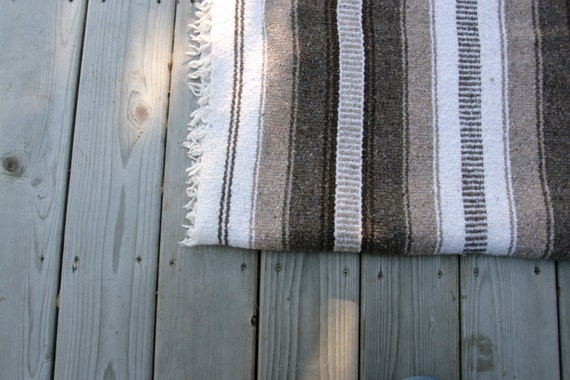 Vintage Blanket Mexican Cotton Woven Tribal Ethnic Native