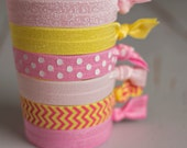 FOE Hair Ties, FREE SHIPPING Pink Lemonade, Knotted Fold Over Elastic, Emi Jay inspired, Anthropologie inspired