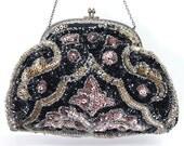 SALE Antique 1900's Art Deco Micro Beaded Sequins Purse Bridal Bridesmaid Evening Wedding Clutch