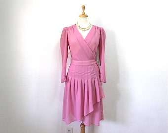 Vintage 70s Dress Pink Chiffon Wrap Pleated Skirt Lizzy & Johnny Bridesmaid Party S/M