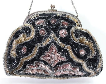 Antique 1900s Black Beaded Sequins Purse Art Deco Micro Hand Beaded Clutch
