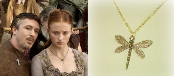 Game of Thrones Sansa Stark Dragonfly Necklace Antique Gold- n376