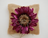 Burlap Ring Bearer Pillow with Burgundy Glitzy Flower