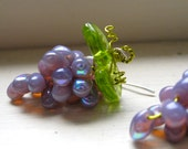 RESERVED for Sharon Crowe Grape Earrings NEW  COLOR Milky Iredescent Lavender Glass Beads/ Wine Related Gifts/ Bachinalian/  Fairies