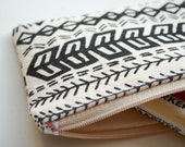 Aztec illustration screen printed pencil case