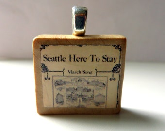 Seattle Here to Stay  - vintage sheet music Scrabble tile pendant