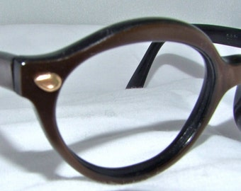 1950s Cats Eye Eyeglasses // 50s Vintage Playgirl Frames // Pearlized bronze // COS Brand