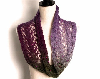 Romantic Purple, Green and Plum colored Lace Knitted Wool Shawl/Cowl/Shrug