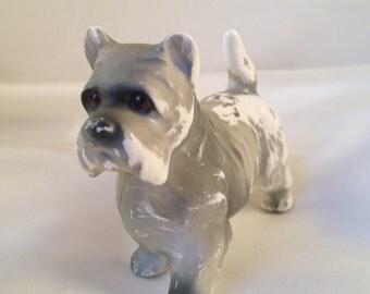 Vintage chippy porcelain Scottie or Schnauzer dog figurine