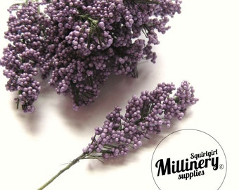 Purple Lavender Flower Bud Wired Picks for Millinery, Corsages & Boutineers Bunch of 12