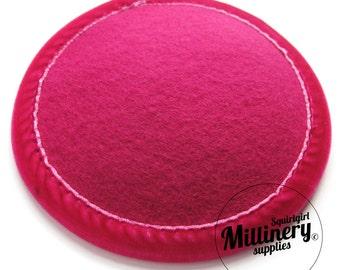 Cerise Pink Velvet Trimmed Wool Felt Hat Base for millinery fascinators