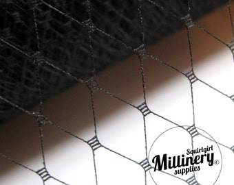 18 Inch Wide Black Russian / French Net Veiling for wedding birdcage veils, fascinators and hat millinery (1 Yard)