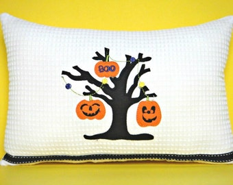 Halloween Accent Pillow Cushion Pumpkins Boo Tree Branch Black White Decorative Repurposed