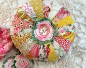 Pincushion, Round Patchwork in your Favorite Fabric Choice - Made to Order
