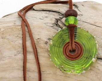 Glass Disk Bead Pendant with Green and Brown Beads on Leather Cord
