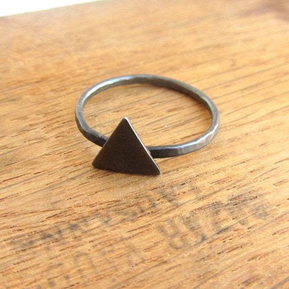 Triangle ring, oxidized black sterling silver, minimalist spike simple stacking ring, eco friendly jewelry