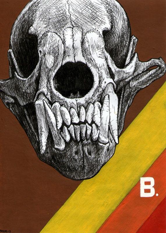 Bear Skull Drawing Items similar to Sun B...