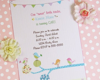 Birdy Parade Birthday Invitations - PRINTED Invitations and comes with envelopes