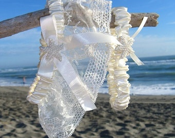 Beach Weddings Garter Set-IVORY ELEGANCE-Bridal Garter Set, Beach Weddings, Destination Weddings, Ivory Garter Set, Seashore, Beach