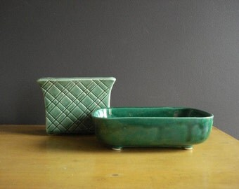 Two Planters - Green on Green - Vintage Pottery Planters - Upco and Stanford Pottery - Ohio Pottery Sebring OH