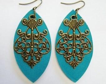 Teal filigree leaf earrings by odi boutique jewellery