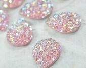 50 Glitter AB Pink Tear Drop Cabochon 10mm x 14mm