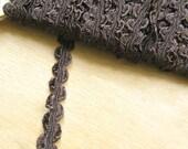 Deep Brown Vintage Ribbon Braid Trim - Chocolate Brown Vintage Trimming - Chocolate Brown Fabric Trim