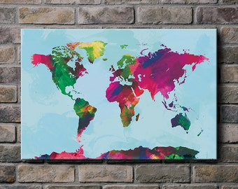 Watercolor World Map - Canvas Print (multiple color options)