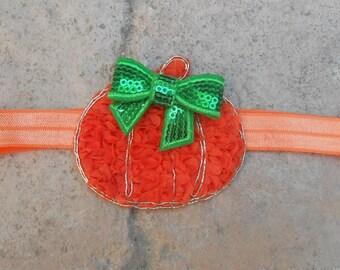 Save 20% off entire purchase see store Halloween Little pumpkin orange  shabby flower  headband green sequin bow newborn-toddler-girls