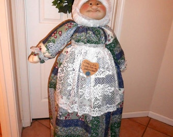 Vacuum Cleaner Cover - Soft Sculptured Grandma - Blue, Green and White Floral Patchwork
