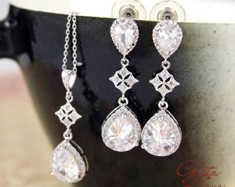Maris - Luxe Cubic Zirconia Teardrop Earrings, Silver Clear Stone Earrings, Bridal jewelry set, gifts for her, Bridesmaids, Diamond Earrings