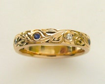 Hand Engraved Vine and Leaf Wedding/Anniversary 4mm Band in 14k Pink Gold with Natural Ceylon Sapphire and Diamonds