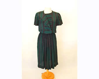 1980s secretary dress, striped dress, green pink, double breasted, puffed sleeves, silk blend, pleated skirt, Size 10