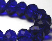 Royal Blue Chinese Crystal Faceted Rondelles, 8 mm, Half Strand, 35 Crystals per Strand