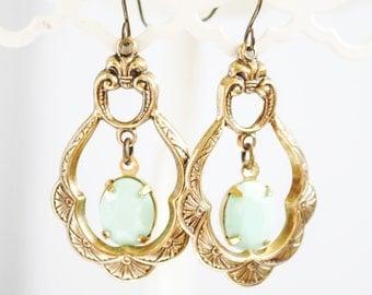 SALE - Victorian Vintage Mint Rhinestone Earrings - Chandelier Earrings, Vintage Jewels