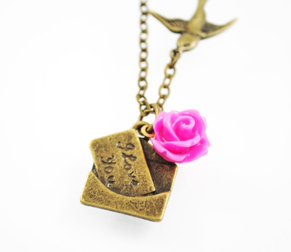 SALE - Love Letter Girl Necklace - A Little Birdie Told Me - Fuchsia