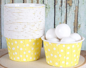 Light Yellow Dot Baking Cups, Candy Cups, Nut Cups, Yellow Portion Cups, Muffin Cups, Baby Shower Favor Cups, Easter Cupcake Cups (24 ct)