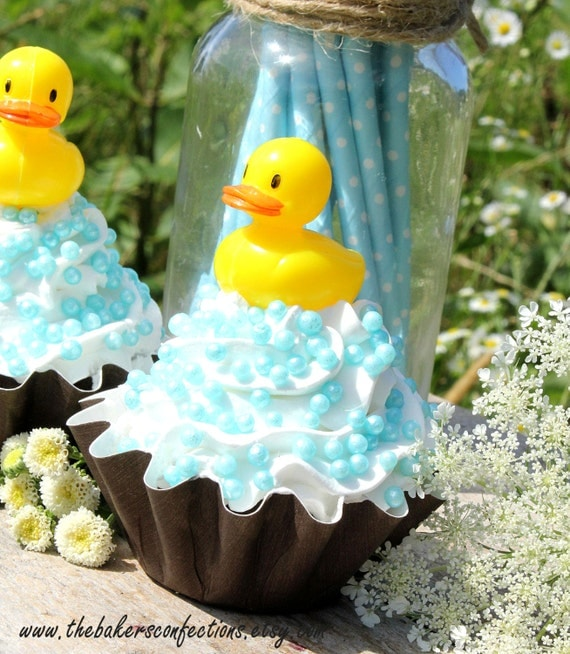 Rubber Ducky Cupcake Picks or Cake Toppers, Baby Shower Cupcake Toppers, Rubber Ducky Party, Duck Cupcake Toppers, Duck Party Favors (12 ct)