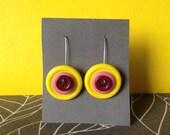 Bullseye Button Earrings in Yellow, Pink and Maroon -SALE-