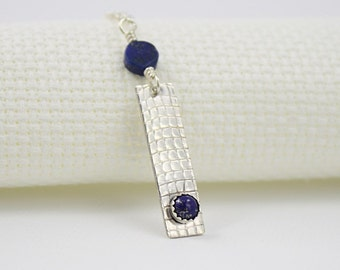 Lapis Lazuli and Sterling Necklace, Silver Rectangle Pendant with Screen Texture
